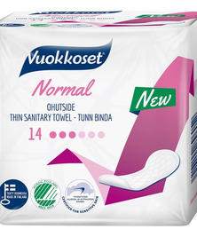 Прокладки без крылышек Cotton Normal Sensitive VUOKKOSET, 14 шт