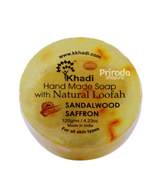 Натуральное мыло с люффой Сандал и Шафран, Hand Made Soap Kailash Khadi, 75 г